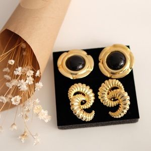 Vintage Statement Earrings (2 sets) 2 Different Designs/Clip-Ons